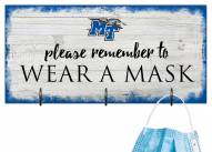 Middle Tennessee State Blue Raiders Please Wear Your Mask Sign