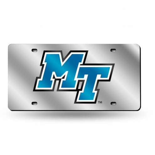 Middle Tennessee State Blue Raiders Silver Laser Cut License Plate
