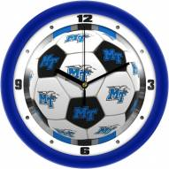 Middle Tennessee State Blue Raiders Soccer Wall Clock