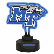 Middle Tennessee State Blue Raiders Team Logo Neon Light