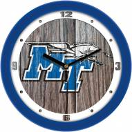 Middle Tennessee State Blue Raiders Weathered Wood Wall Clock