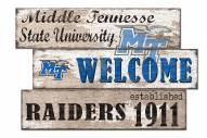 Middle Tennessee State Blue Raiders Welcome 3 Plank Sign