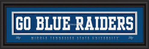 """Middle Tennessee State """"Go Blue Raiders"""" Stitched Jersey Framed Print"""