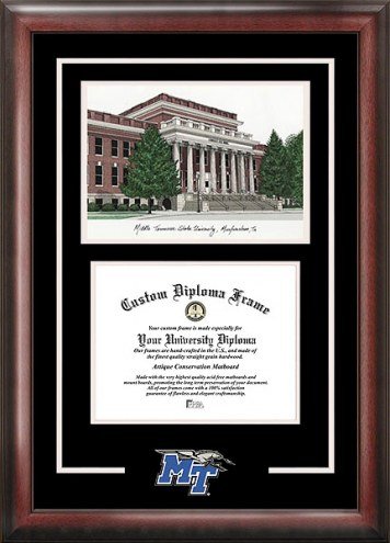 Middle Tennessee State Blue Raiders Spirit Diploma Frame with Campus Image