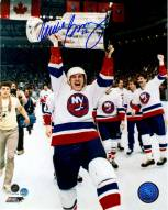 Mike Bossy Signed With Cup Over Head 8 x 10 Photo