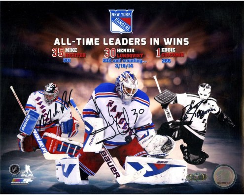 Mike Richter/Henrik Lundqvist/Eddie Giacomin Triple Signed Rangers All Time Wins Leaders 8x10 Collage Photo
