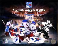 Mike Richter/Henrik Lundqvist/Eddie Giacomin Triple Signed Rangers All Time Wins Leaders 8 x 10 Collage Photo