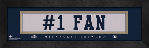 """Milwaukee Brewers """"#1 Fan"""" Stitched Jersey Framed Print"""