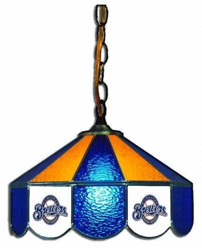 "Milwaukee Brewers 14"" Glass Pub Lamp"