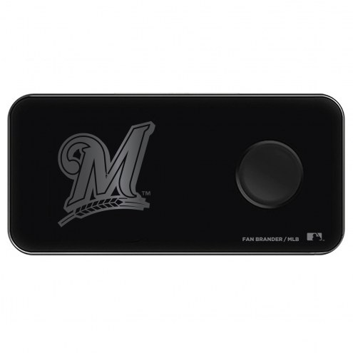 Milwaukee Brewers 3 in 1 Glass Wireless Charge Pad