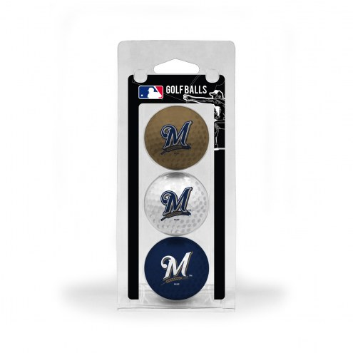Milwaukee Brewers 3 Pack of Golf Balls