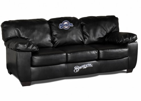 Milwaukee Brewers Black Leather Classic Sofa