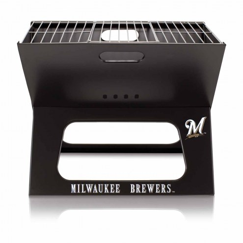 Milwaukee Brewers Black Portable Charcoal X-Grill