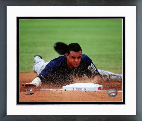 Milwaukee Brewers Carlos Gomez Action Framed Photo