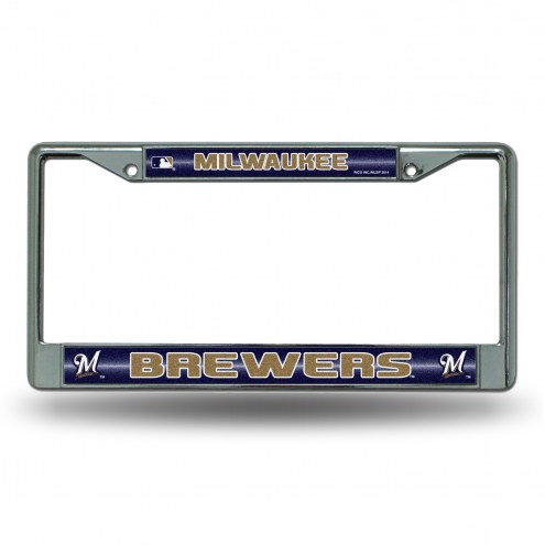 Milwaukee Brewers Chrome Glitter License Plate Frame