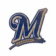 Milwaukee Brewers Distressed Logo Cutout Sign