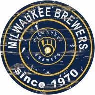 Milwaukee Brewers Distressed Round Sign