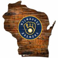 Milwaukee Brewers Distressed State with Logo Sign
