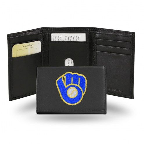 Milwaukee Brewers Embroidered Leather Tri-Fold Wallet