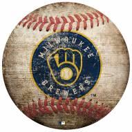 Milwaukee Brewers Baseball Shaped Sign