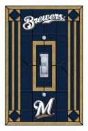 Milwaukee Brewers Glass Single Light Switch Plate Cover