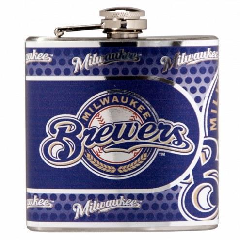 Milwaukee Brewers Hi-Def Stainless Steel Flask