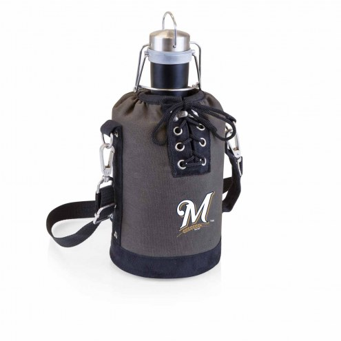 Milwaukee Brewers Insulated Growler Tote with 64 oz. Stainless Steel Growler