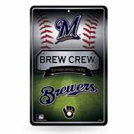 Milwaukee Brewers Large Embossed Metal Wall Sign