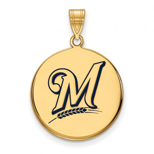 Milwaukee Brewers Sterling Silver Gold Plated Large Pendant