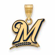 Milwaukee Brewers Sterling Silver Gold Plated Medium Pendant