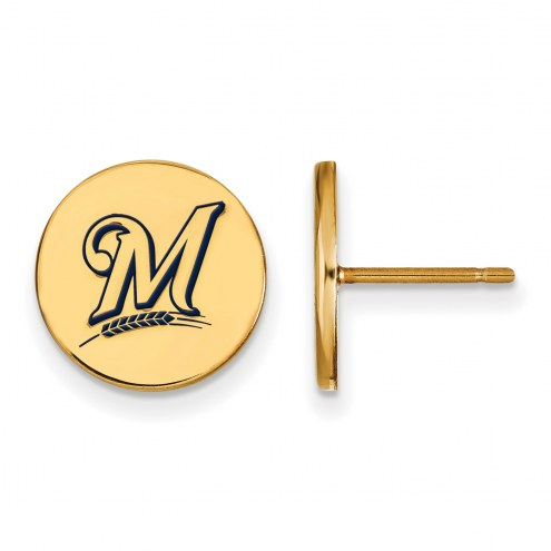 Milwaukee Brewers Sterling Silver Gold Plated Small Disc Earrings