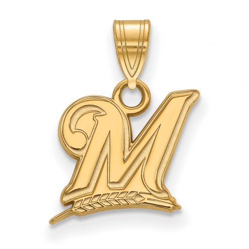 Milwaukee Brewers Logo Art Sterling Silver Gold Plated Small Pendant