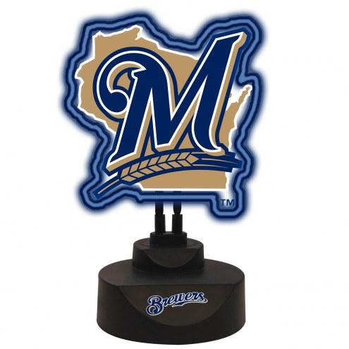 Milwaukee Brewers Team Logo Neon Light