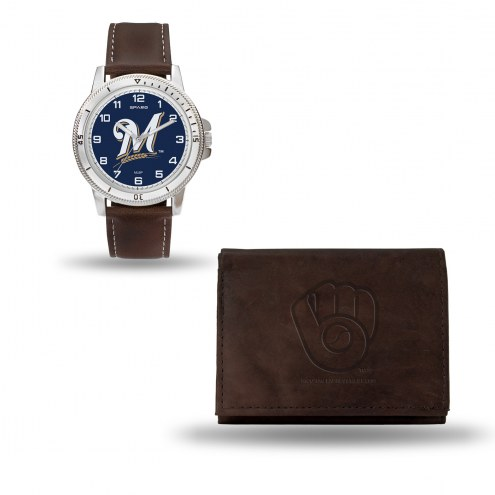 Milwaukee Brewers Men's Niles Watch & Wallet Set
