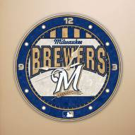 Milwaukee Brewers MLB Stained Glass Wall Clock