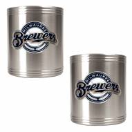 Milwaukee Brewers MLB Stainless Steel Can Holder 2-Piece Set