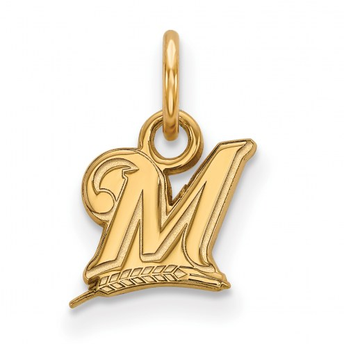 Milwaukee Brewers MLB Sterling Silver Gold Plated Extra Small Pendant