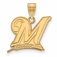 Milwaukee Brewers MLB Sterling Silver Gold Plated Large Pendant