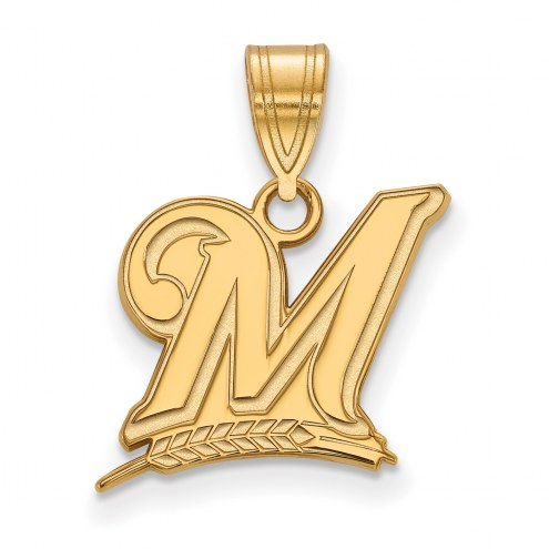 Milwaukee Brewers MLB Sterling Silver Gold Plated Medium Pendant