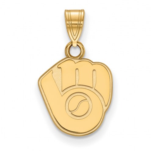 Milwaukee Brewers MLB Sterling Silver Gold Plated Small Pendant
