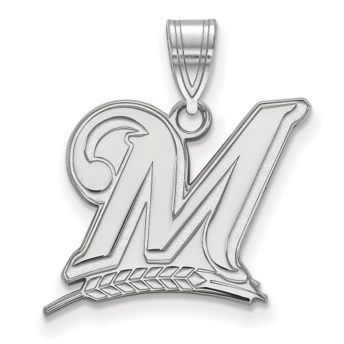 Milwaukee Brewers Sterling Silver Large Pendant