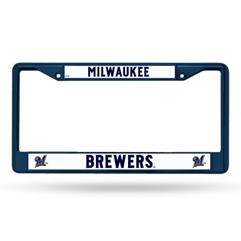 Milwaukee Brewers Navy Colored Chrome License Plate Frame