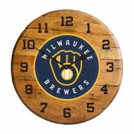 Milwaukee Brewers Oak Barrel Clock
