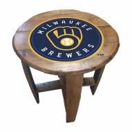 Milwaukee Brewers Oak Barrel Table