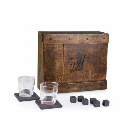 Milwaukee Brewers Oak Whiskey Box Gift Set