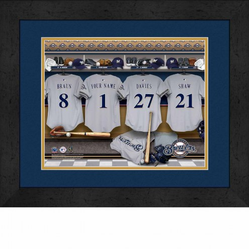 Milwaukee Brewers Personalized Locker Room 13 x 16 Framed Photograph