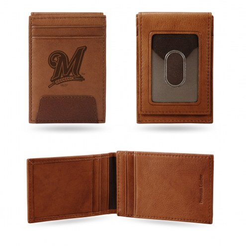 Milwaukee Brewers Premium Leather Front Pocket Wallet