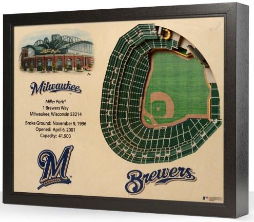 Milwaukee Brewers 25-Layer StadiumViews 3D Wall Art