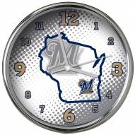 Milwaukee Brewers State of Mind Chrome Clock