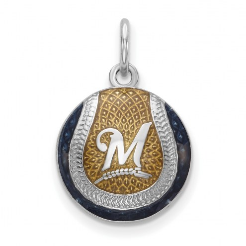 Milwaukee Brewers Sterling Silver Baseball Pendant